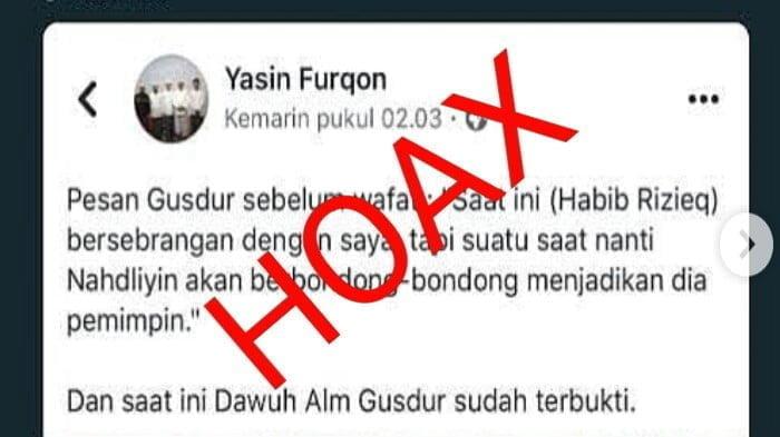 Hoax Simpatisan FPI Bahwa Gusdur Nyatakan Najdliyin akan ikut Habib Rizieq
