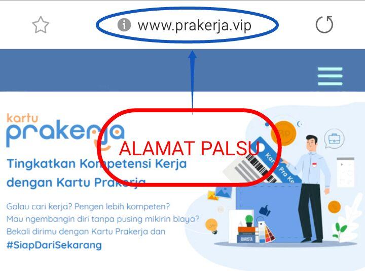 Website prakerja Palsu