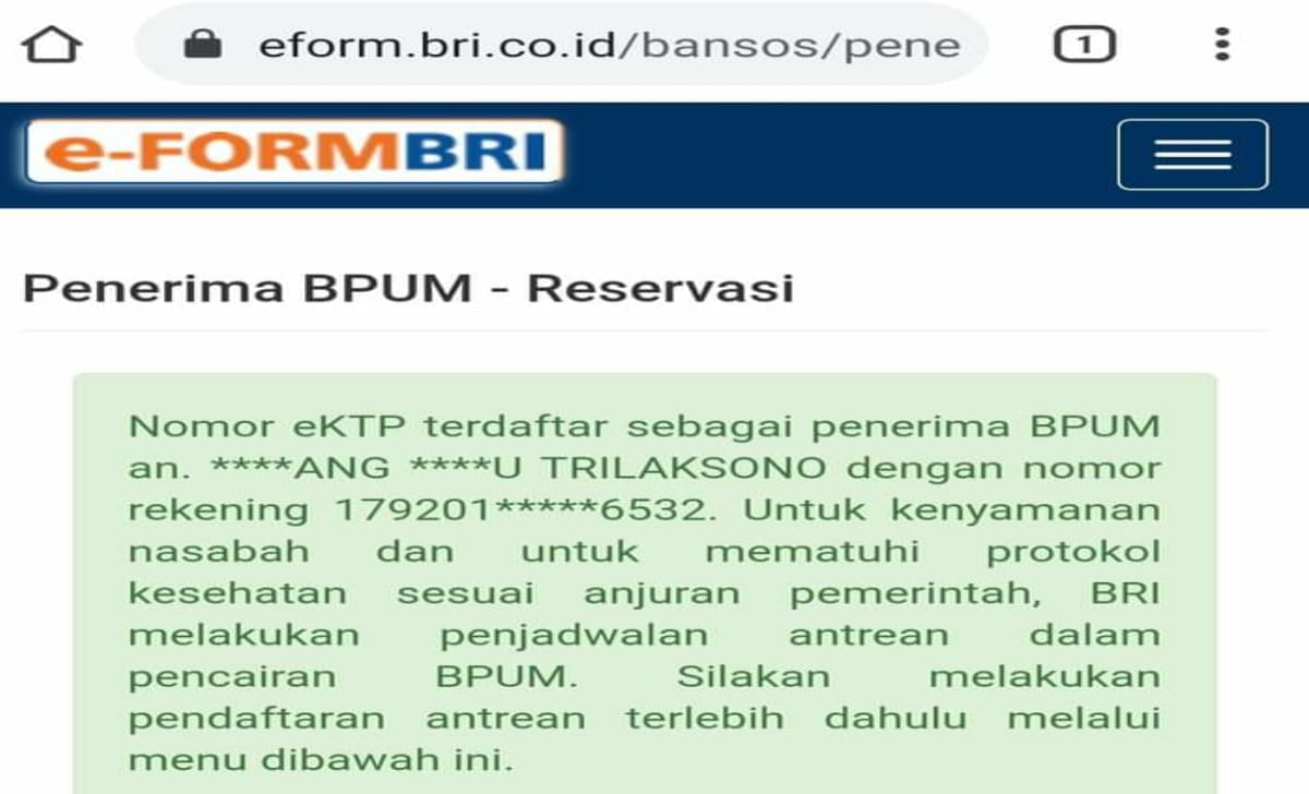 contoh kalimat di eform BRI yang menerima dana BPUM