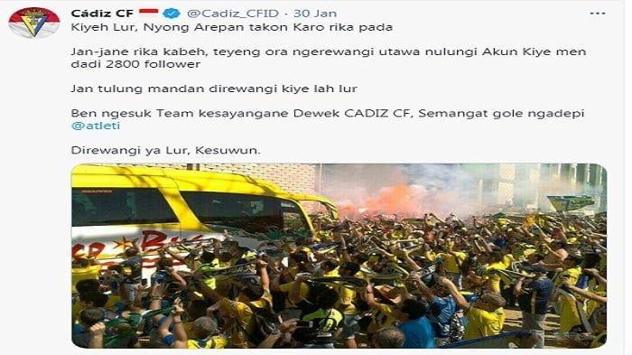 tangkapan layar admin Cadiz CF Indonesia Gunakan bahasa ngapak